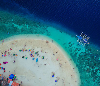 Beautiful clear sea water of the Sumilon island beach landing near Oslob Cebu Philippines