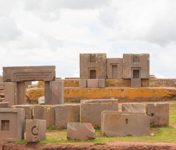 Megalithic stones with intricate carving in the complex Puma Punku Bolivia