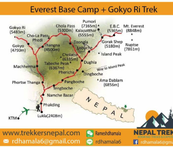 Map of the Everest Base Camp with Gokyo lake
