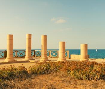 Ruins of ancient city Caesarea in Israel