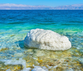 The white stone in the Dead Sea, covered with salt, Ein Gedi, Israel