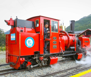 Southern Fuegian Railway Station in Ushuaia Argentina is a heritage railway into the Tierra del Fuego National