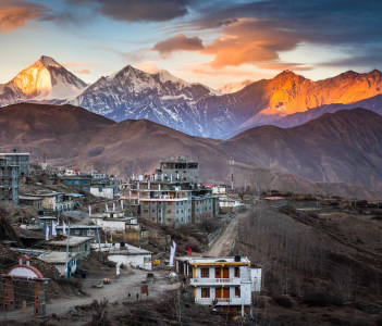 Dhaulagiri view from Muktinath Annapurna Circuit trek in Nepal