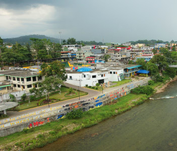 Napo River running through the city of Tena Nepo Ecuador