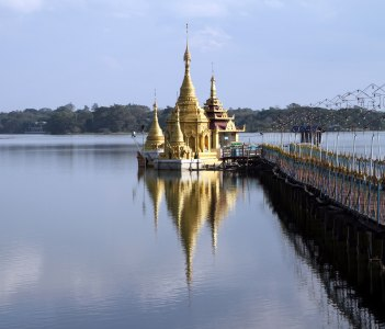 Antaka Yele Pagoda on a quiet Lake Meiktila in Meiktila Burma Myanmar