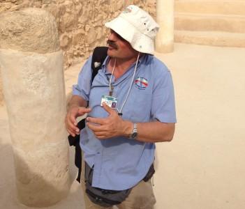 Benayah Blum guiding in the ancient Synagogue of Masada