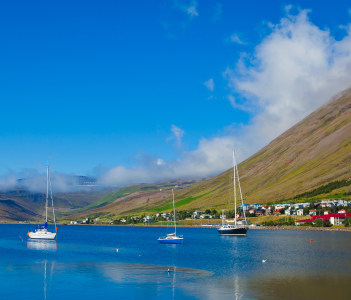 Beautiful Icelandic Vibrant Summer Landscape with Fjord Isafjordur