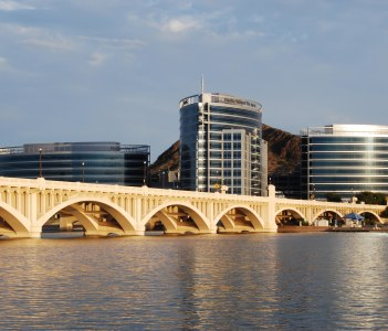 Time exposure of the newest modern office buildings at Tempe USA