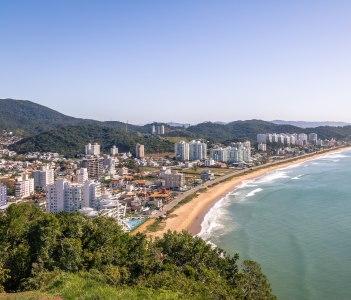 Aerial view of Itajai city and Praia Brava Beach in Brazil