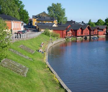 Summer evening on the river Porvoyoke. Main landmark of the city Porvoo, Finland