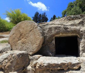 A tomb near nazareth, Israel dates to the first century. Similar to Christ's tomb with the stone rolled over the entry
