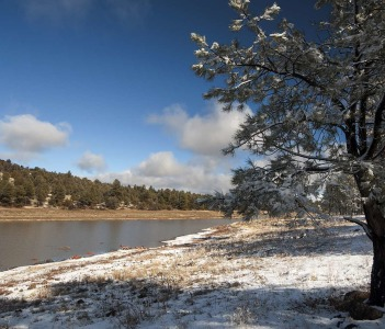 Fallen snow on Kaibab Lake