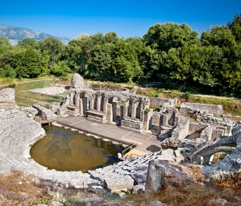Remains of the 6th century ancient Baptistery at Butrint Albania