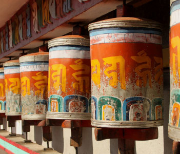 Prayer wheels at Zang Dhok Palri Phodang, a Buddhist monastery in Kalimpong in West Bengal