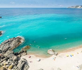 An aerial view of a mediterranean spanish beach at Almunecar in Spain