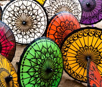 Colorful Parasols, Pathein, Myanmar