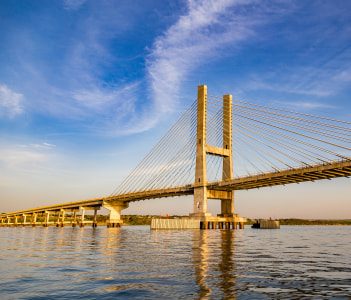 Cable-stayed bridge over Parana river Brazil
