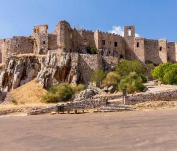 The hilltop Castle Fortress and old convent of Calatrava La Nueva near Ciudad Real Castilla La Mancha, Spain