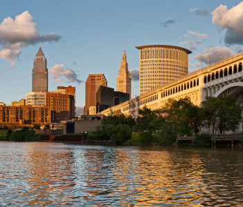 Cleveland Downtown Skyline at Sunset