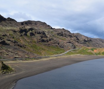 Road by lake Kleifarvatn in Iceland