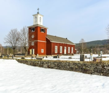 The church of Lekvattnet in Varmland Sweden, built by tree from the district