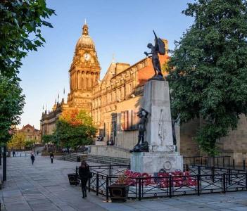 Leeds town hall and war memorial in the city of Leeds UK