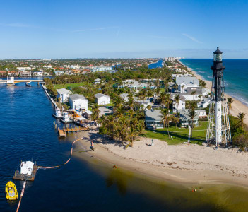 Aerial drone image of the Hillsboro inlet lighthouse, Pompano Beach, Florida, USa