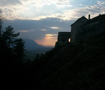 Sunset over Rasnov Fortress