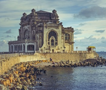 Picturesque view with the historic building of the Constanta Casino the most representative symbol of the city on the coast of the Black Sea Romania