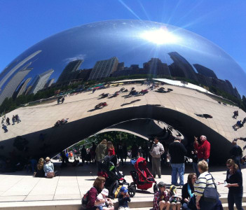 Chicago bean reflection mirror