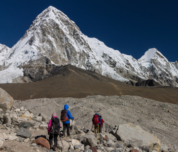 Trekkers approaching Gorakshep in the Khumbu Valley