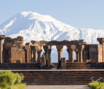 Mount Ararat and the ruins of the Zvartnots Cathedral in Yerevan