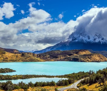 Torres del Paine National Park, The magnificent cliffs of Los Cuernos are covered with snow, Los Andes Chile