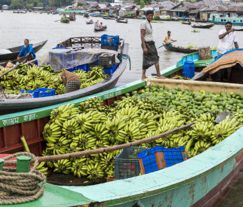 Scenic view of boats at the floating vegetable market, Barisal, Bangladesh