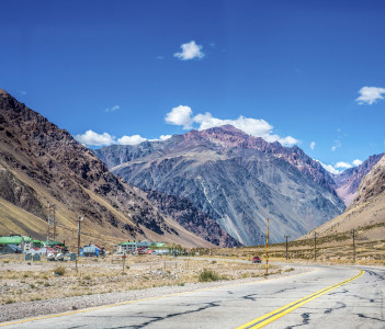 National Road 7 passing by the Department of Lujan de Cuyo in Mendoza Argentina