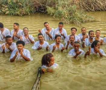 Ethiopian Pilgrims at the Baptism site near the Dead Sea