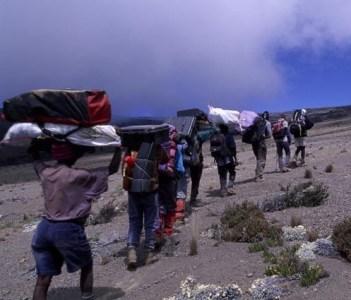 Carrying loads to mount kilimanjaro