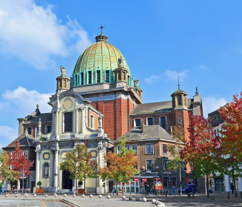 Center of Charleroi and Saint-Christophe church Charleroi Belgium