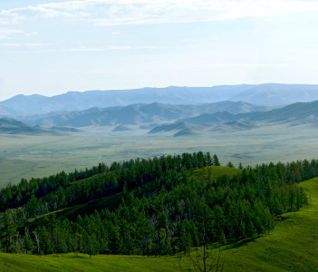 Panoramic view of the nature of Mongolia near the city of Erdenet Mongolia