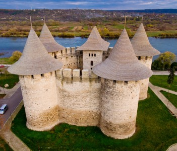 Aerial view of medieval fort in Soroca Republic of Moldova