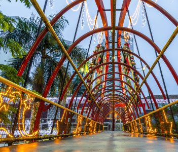 JOINVILLE BRAZIL Footbridge at nigth with christmas ornament