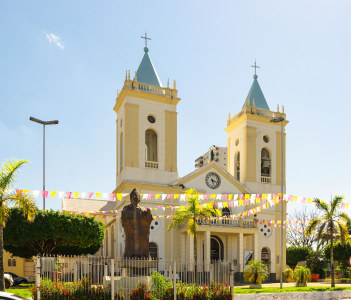 View of cathedral, Metropolitana Sagrado Coracao de Jesus in Porto Velho city, Brazil
