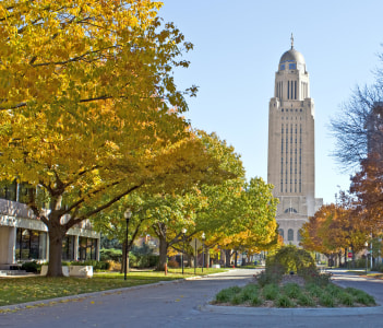 The Nebraska State Capitol Building in downtown Lincoln USA