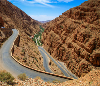 Winding road through impressive Dades gorge Morocco