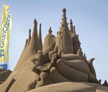Belen de Arena Nativity scenes made of sand On Las Canteras town beach December 13 2015 in Las Palmas de Gran Canaria Spain