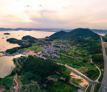 Aerial landscape of Yeosu city, South Korea