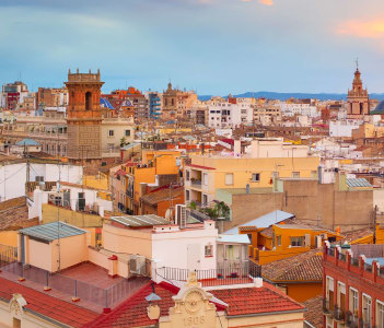 Panoramic view of Old Town of Valencia at sunset. Spain
