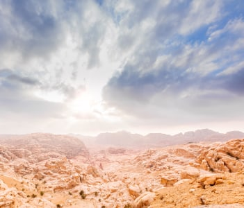 Valley of Wadi Musa in Ma'an, Jordan at early-evening
