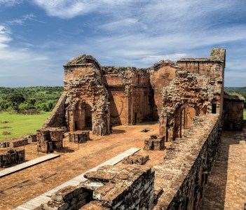 Historical site of Encarnacion and jesuit ruins in Paraguay