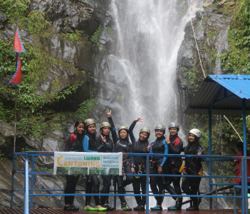 Group happy on Cannyoning